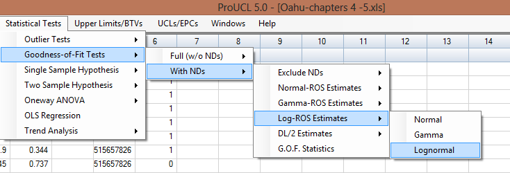 8.4 Gdness-f-Fit Tests with ROS Methds 1. Click Gdness-f-Fit Tests With NDs Gamma-ROS Estimates r Lg-ROS Estimates 2.