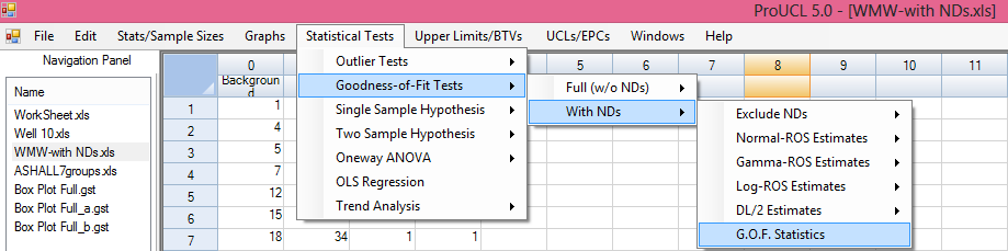 8.5.1 Nrmal r Lgnrmal Distributin (DL/2 Estimates) 1. Click Gdness-f-Fit Tests With NDs DL/2 Estimates Nrmal r Lgnrmal 2. The Select Variables screen (Chapter 3) will appear.