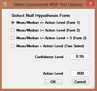 9.1.1.4 Single-Sample Wilcxn Signed Rank (WSR) Test 1. Click Single Sample Hypthesis Full (w/ NDs) Wilcxn Signed Rank 2. The Select Variables screen will appear.