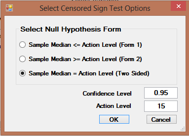 9.1.2.2 Single-Sample Sign Test with NDs 1. Click Single Sample Hypthesis With NDs Sign test 2. The Select Variables screen will appear. Select variable(s) frm the Select Variables screen.