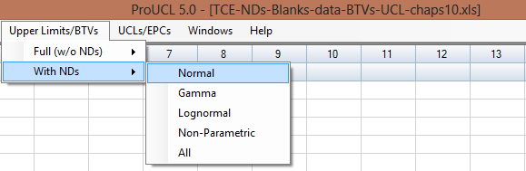 10.2 Backgrund Statistics with NDs 1. Click Upper Limits/BTVs With NDs 2. Select the With NDs ptin.