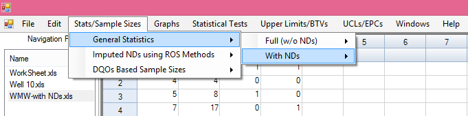 Tw-Sample Hyptheses: It shuld be nted when using tw-sample hyptheses tests (WMW test, Gehan test, and Tarne-Ware test) n data sets with NDs, bth samples r variables (e.g., site-as, Back-As) shuld be specified as having NDs, even thugh ne f the variables may nt have any ND bservatins.