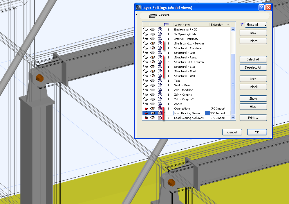 Layer Display Modes To differentiate elements from the original ArchiCAD elements, place them onto a separate layer.
