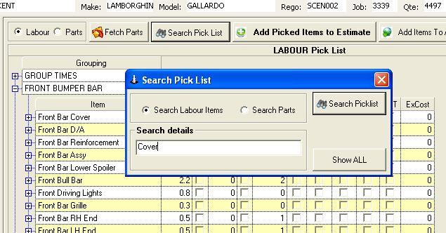 The Pick list shows Labour Or part Items. To select between the two select labour Or Parts at the top section near the buttons.