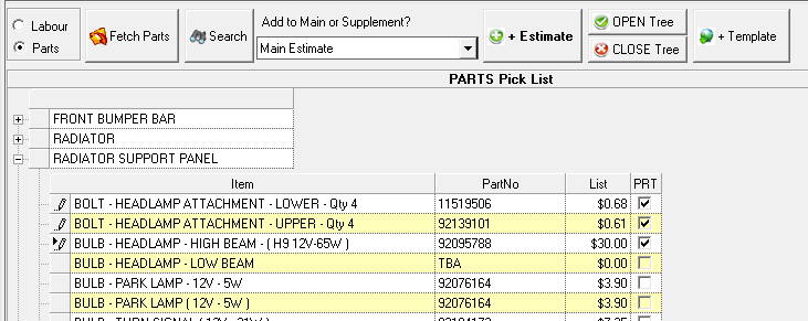 Using the Pick List to add Parts Items Note: Can only be used if you have selected a model from the range of Car Quote supplied models in the details tab. 1.