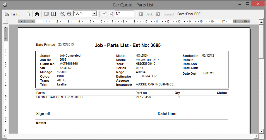 Parts List Provides a list of all parts for the Job.