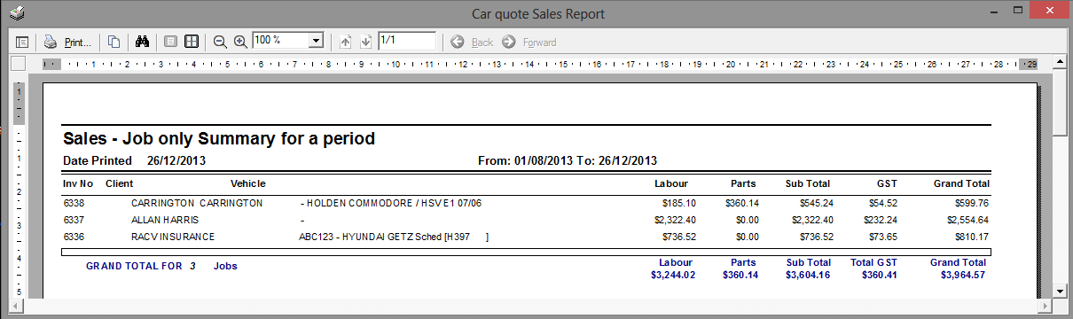 Sales Reports All Sales Summary for a period