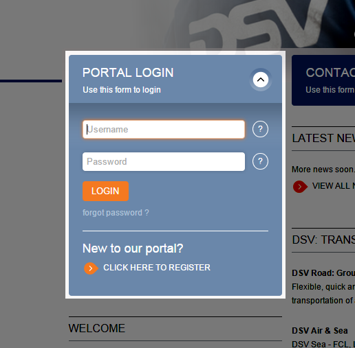 3 Portal Register and login Click left hand blue button PORTAL LOGIN to login or register. You will need to register in order to request Quotes.