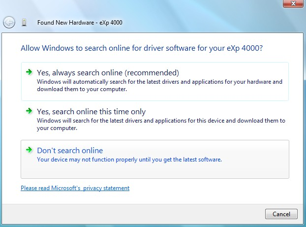 Click on Locate and install driver software (recommended).