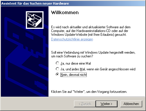 6 1.1 Windows XP The instructions in this section are only valid for the operating system Windows XP. 1.1.1 Install USB drivers on Windows XP The installation of the USB drivers in Windows XP is relatively simple.