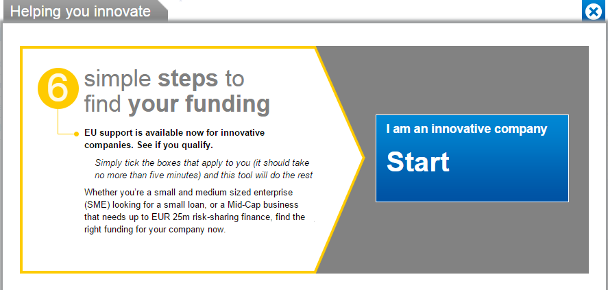 Six simple steps to loan funding InnovFin Online Tool The EIB Group and DG Research and Innovation have developed a loan matching platform: Six simple steps to loan funding to provide you with