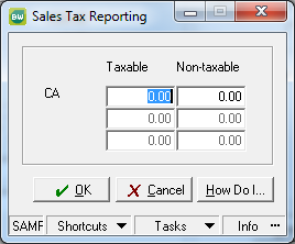 the amount in the non-taxable field or your Sales Tax Report will be incorrect. 8.