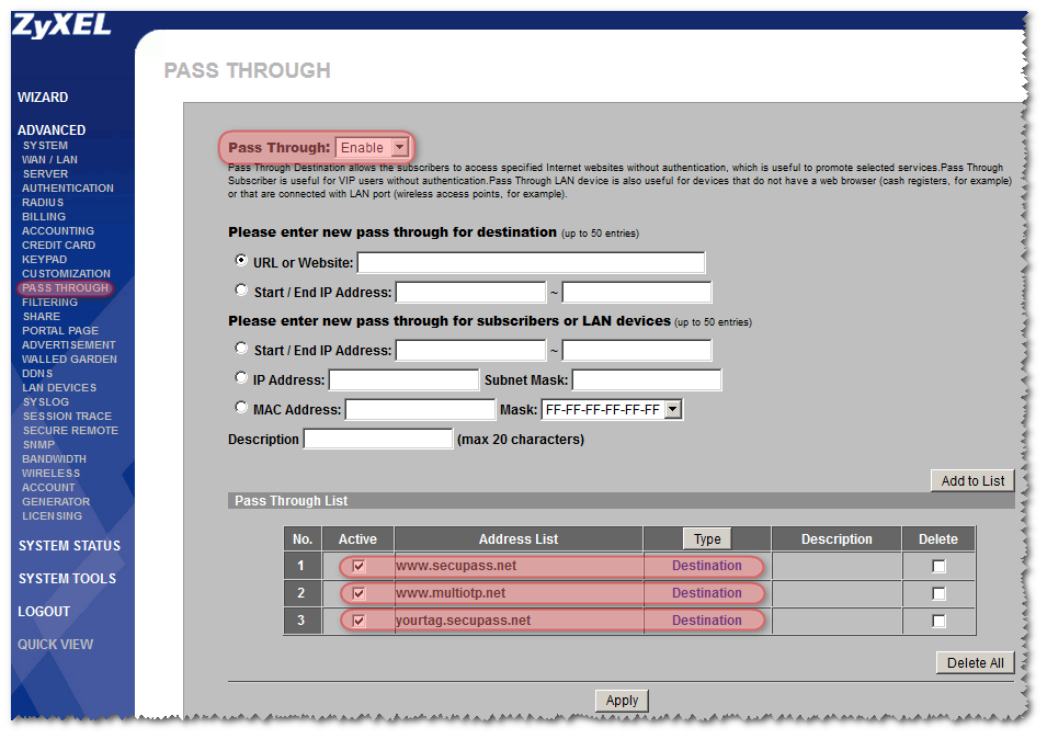 d) Configure the PASS THROUGH options That s it already!