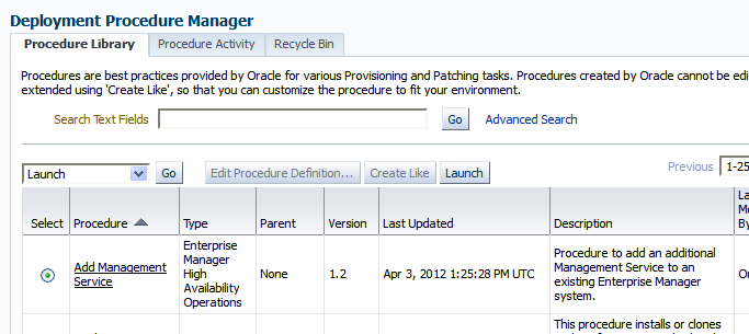 The Add Management Service Deployment Procedure is provided out of the box.