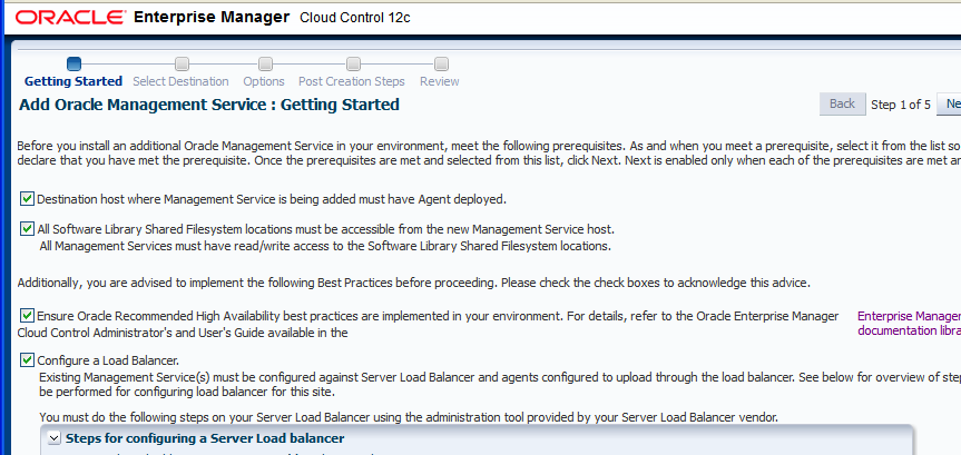 The Deployment Procedure provided a guided workflow for adding the new Management Service.