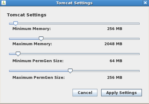 Tomcat PermGen Size You can use the JSS Database Utility to configure the minimum and maximum PermGen sizes for Tomcat. Configuring Tomcat PermGen Size Using the GUI 1.