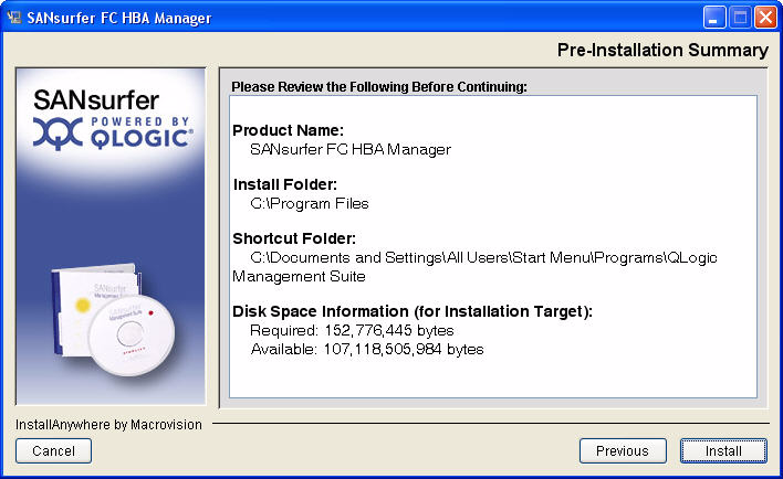 A 5 Installing ANsurfer FC HBA Manager Initial Installation NOTE: If you select the create desktop icon check box, the ANsurfer icon opens for the current user profile or all user profiles, depending