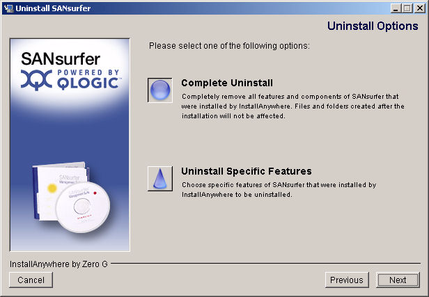A 5 Installing ANsurfer FC HBA Manager Uninstalling ANsurfer Figure 5-24 Uninstall ANsurfer: Uninstall Options 3.