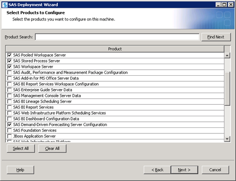 88 Chapter 10 Managing SAS Application Servers A page listing the products to configure opens. By default, the SAS Deployment Wizard presents only products that have not been configured.