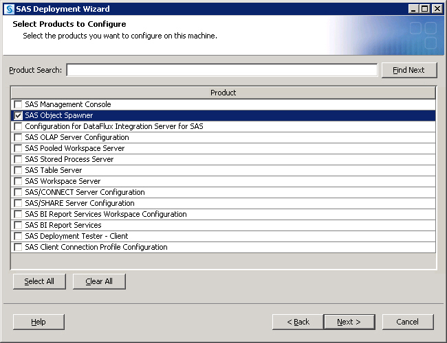 94 Chapter 10 Managing SAS Application Servers d. When you see the wizard's Select Products to Configure dialog box, check SAS Object Spawner only.