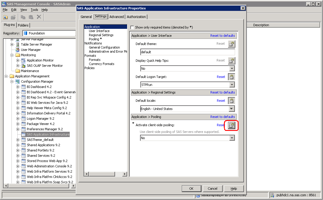Configuring Client-side Pooling 67 Setting Client-side Pooling Application Properties To turn on client-side pooling properties for SAS applications such as SAS Web Report Studio, the SAS Information
