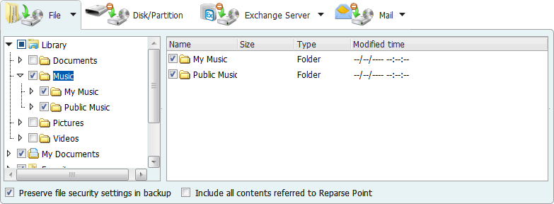 "Click ""Image-reserve strategy"" to configure it. Calculate the space requirement for the files you selected. 2. Specify file/folder(s) for backup."