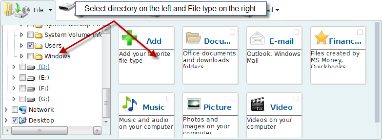 Select file/folder(s) from the directory structure on the left. Click on the button to select the whole category on the right, or click Edit to expand a category and select some certain file types.