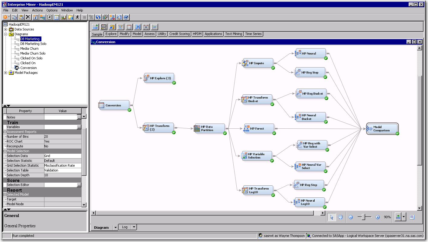Figure 2: SAS Enterprise Miner High-Performance Analytics Model Diagram SAS Rapid Predictive Modeler for SAS Enterprise Miner is the easiest of all tools that require the user to only specify the
