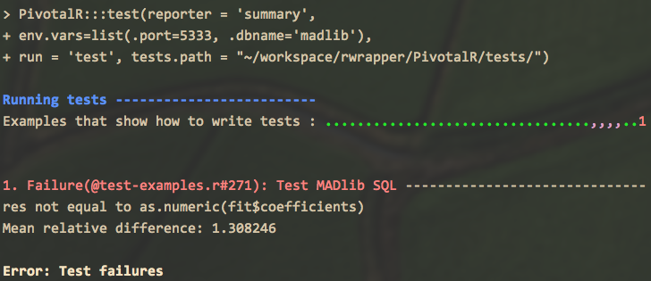 Testing Framework R CMD INSTALL --install-tests PivotalR_0.1.16.2.
