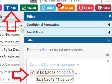 Step 50: If you would like to pull a subset of the data, you can use the Filter option on the NYC data website to filter by a date range and then you would need to pull the results to your local