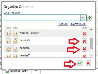 Step 63: Now, we can remove columns of data we will not need to process. Click the same triangle icon next to any column and select the organize columns option.