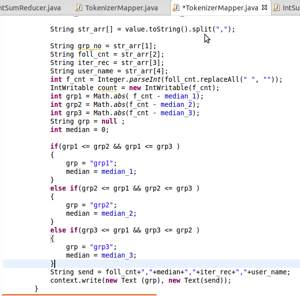 Following is the code snippet of the Mapper of K-means algorithm.