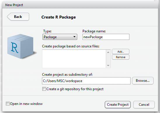 Creating Packages with R I 1 day The course explains the process from a loose collection of functions to a publishable package.