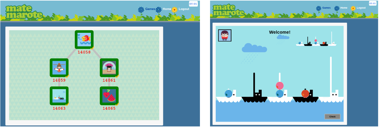 Fig. 2. Frontend screenshot of Mate Marote new implementation. In the left panel (Fig. 2a) the Gameflow that the user will play is show, and in the right panel (Fig.
