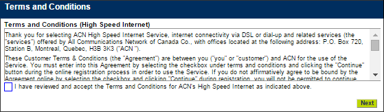 New Customer Orders (Internet) Customers will now be asked to review ACN s High Speed