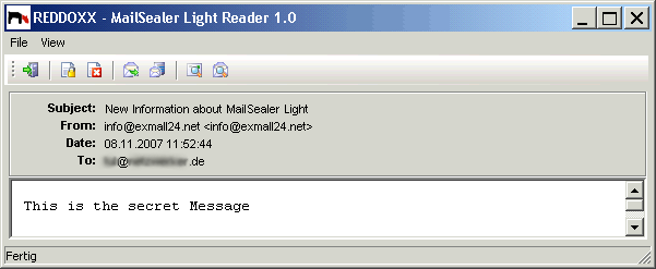 The encrypted e-mail is enclosed as attachment message.rdxmsl. When double-clicking on the attachment, the reader opens and demands the pass phrase.