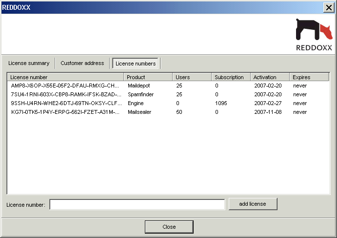 6. The Appliance Console 2. You see an overview of all entered licenses with activation and expiration information.