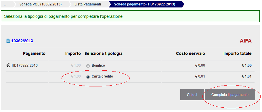 "Once you have the code CRO / SEPA return in the application, select the menu item ""Payment in progress"", select ""Autocertificaz."