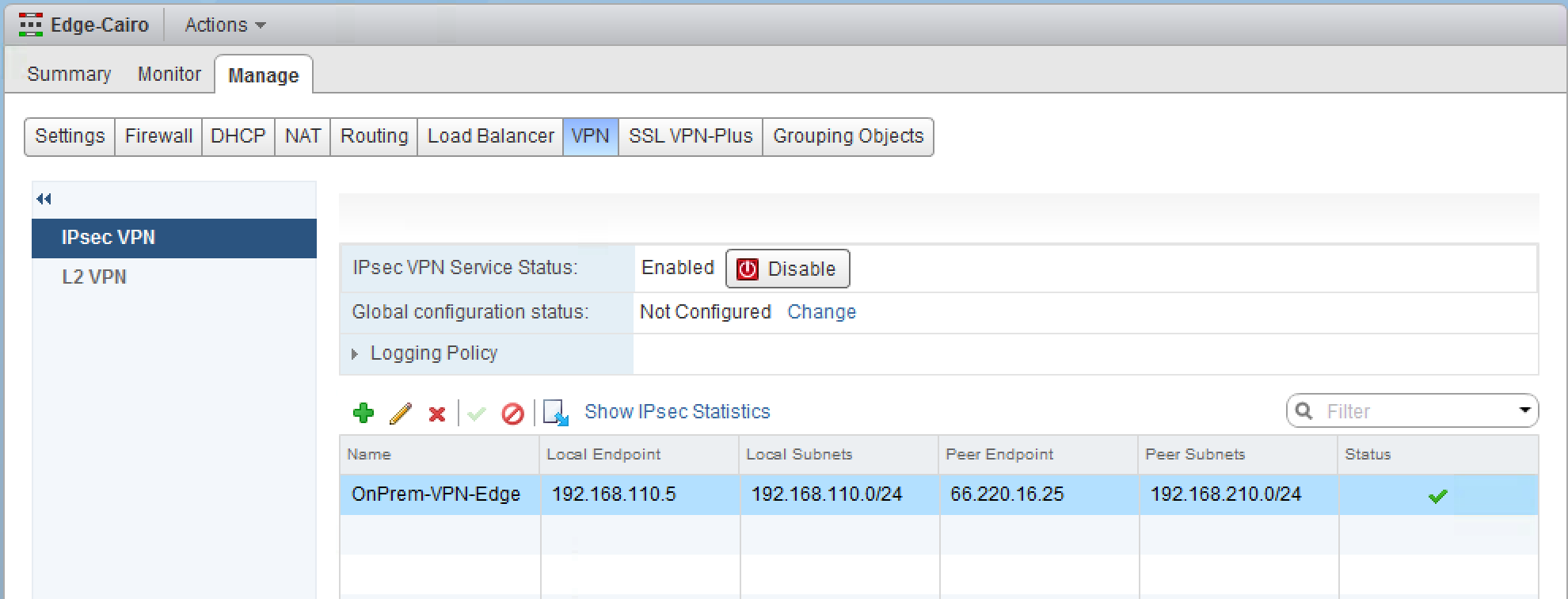 Starting from the bottom, VMware NSX for vsphere is running a site-to-site VPN tunnel to an edge gateway on vcloud Air.