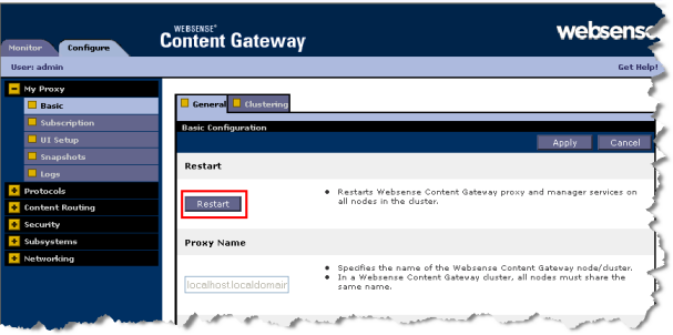 Configuring the Content Gateway Module 1. Navigate to Configure > My Proxy > Subscription > Subscription Management. 2. Enter the key for your Websense Web Security Gateway Anywhere subscription.
