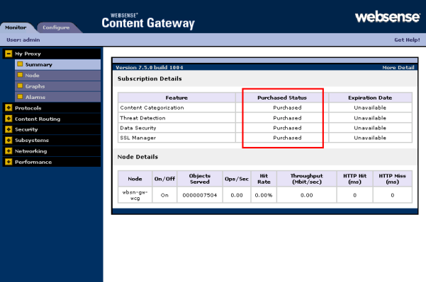 Configuring the Content Gateway Module SSL manager This demonstrates that your subscription is active.