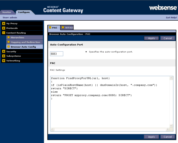 Configuring the Content Gateway Module 2. On the PAC tab, enter the auto-configuration port and PAC settings.