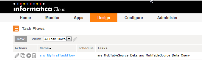 6. Click OK to add the task and then check Stop on Error task option: 7. Add the ars_multiletablesource_delta_query task. Name the task flow ars_myfirsttaskflow : 8.
