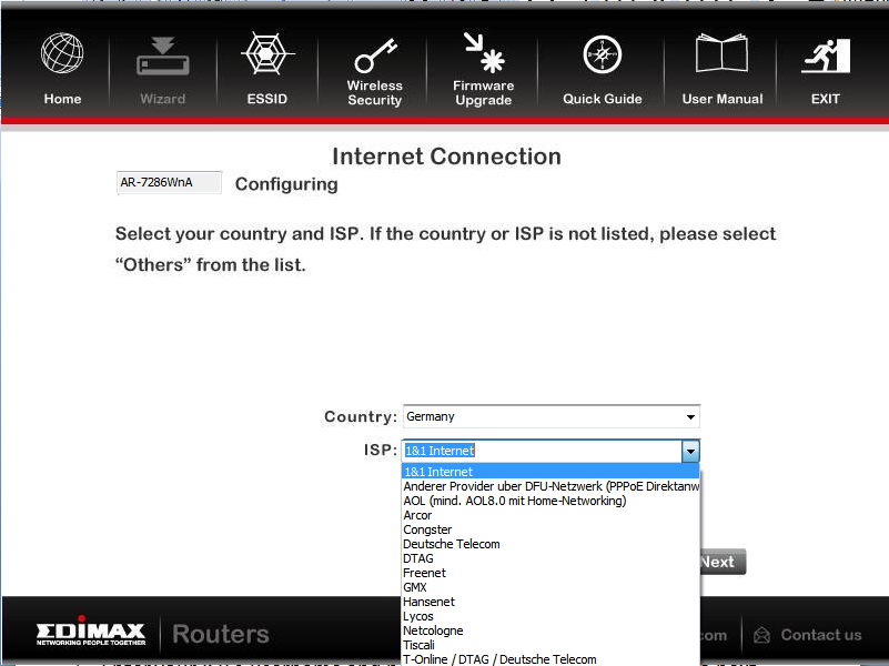 4. Select your country and ISP.