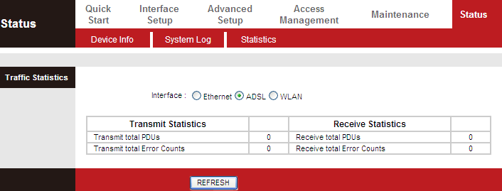 5.2.3. Statistics Choose Status > Statistics. The Statistics page that is displayed contains Ethernet Statistics, ADSL Statistics and WLAN Statistics. 5.2.3.1.