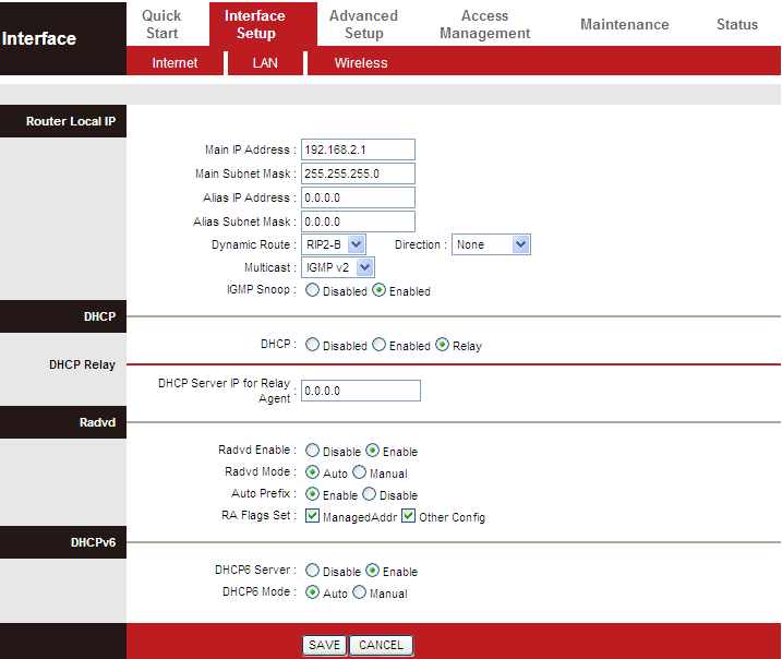 In the DHCP field, choose DHCP Relay, the page shown in the