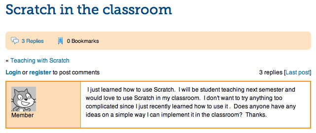 Figure 5.3 A teacher s post on ScratchEd, seeking advice on integrating Scratch in her practice. Do this.
