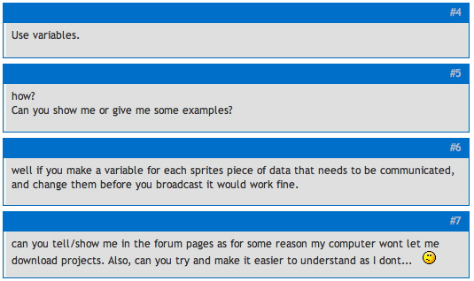 Figure 4.3 Typical forum exchange with someone looking for help.