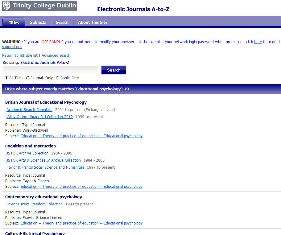 Subject breakdown E-journals only Journals on educ.