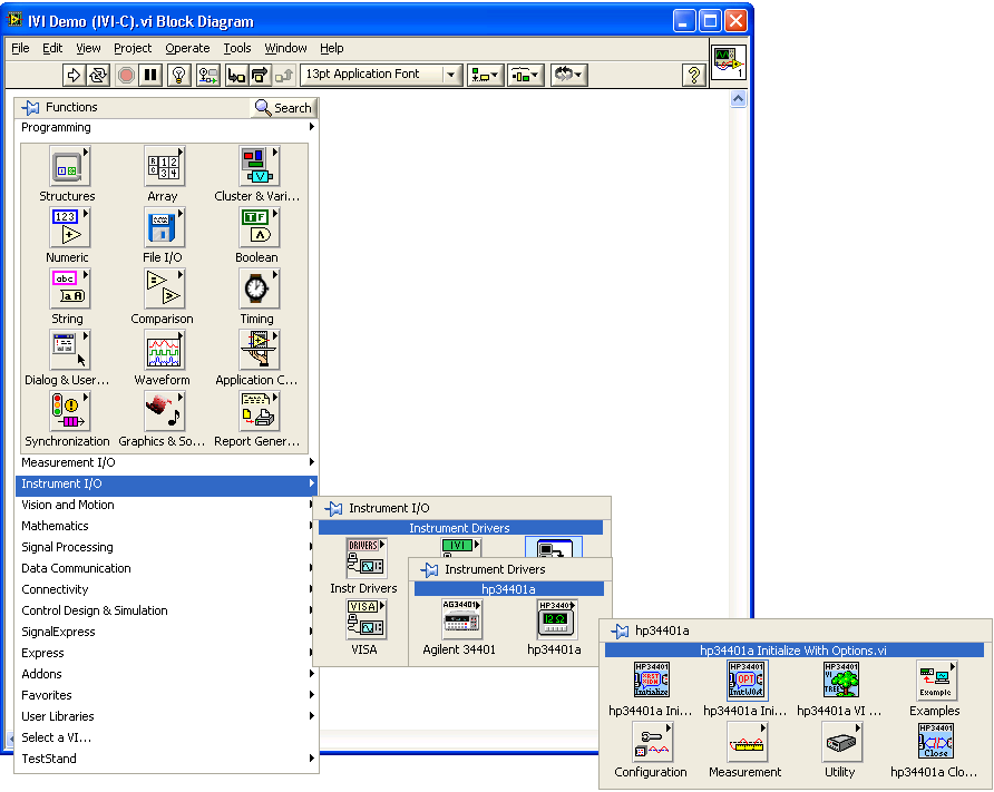 Create a VI and Access the Driver 1 Launch LabVIEW. 2 From the File menu, select New VI. The Front Panel and Block Diagram appear. 3 Right-click in the Block Diagram. The Functions palette appears.